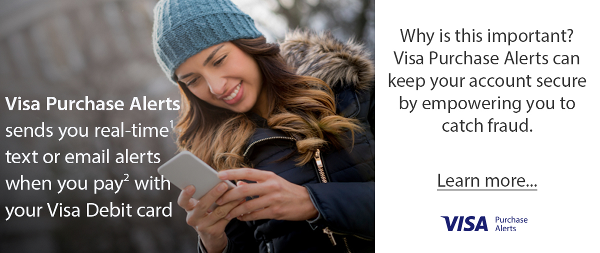 Young woman using a cellphone VISA Purchase Alerts