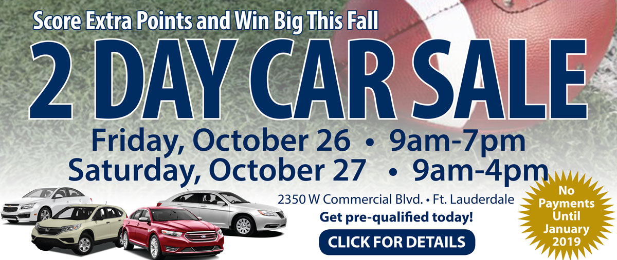 Score Extra Points and Win Big This Fall at the Two Day Car Sale