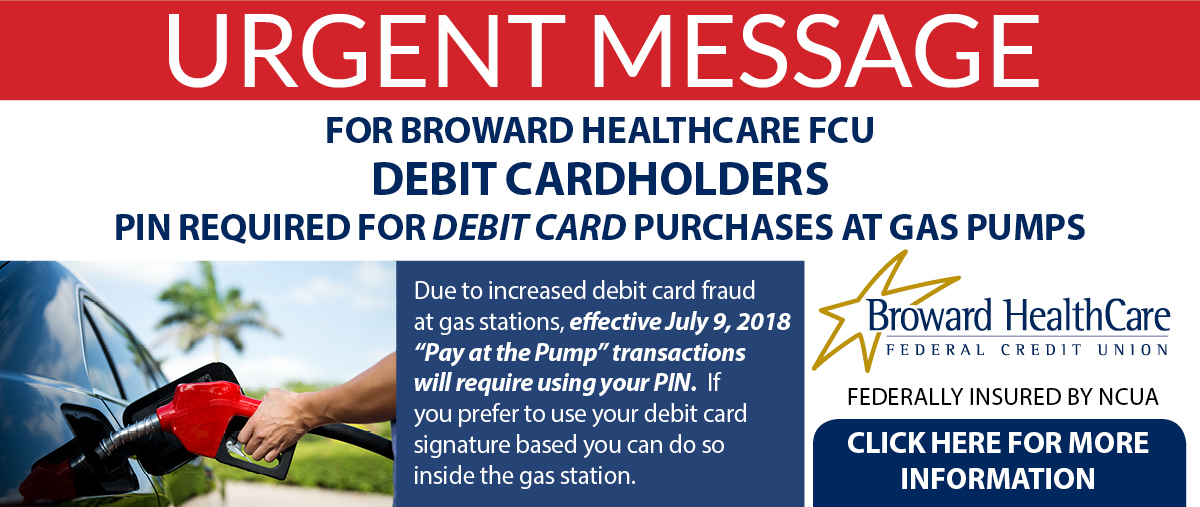 Urgent message. Pin required for debit card purchases at gas pumps